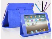Kit Me Out US PU Leather Book Case + 5 Resistive / Capacitive Stylus Pens for Apple iPad Mini / Mini 2 (All Versions) Tablet - Blue Luxury Multi Function