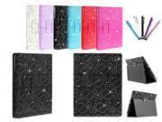 Kit Me Out US PU Leather Book Case + 5 Resistive / Capacitive Stylus Pens for Asus Google Nexus 7 ( 7 Inch 7.0 ) Tablet - Black Sparking Glitter Diamond Diamante Gem Design