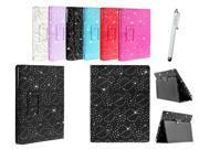 Kit Me Out US PU Leather Book Case + White Resistive / Capacitive Stylus Pen for Asus Google Nexus 7 ( 7 Inch 7.0 ) Tablet - Black Sparking Glitter Diamond Diamante Gem Design