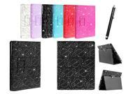 Kit Me Out USA PU Leather Book Case + Black Resistive / Capacitive Stylus Pen for Asus Google Nexus 7 ( 7 Inch 7.0 ) Tablet - Black Sparking Glitter Diamond Diamante Gem Design
