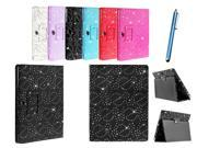 Kit Me Out US PU Leather Book Case + Blue Resistive / Capacitive Stylus Pen for Samsung Galaxy Note 10.1 Tablet N8000 / N8010 - Black Sparking Glitter Diamond D