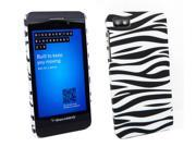 Kit Me Out US Hard Clip-on Case + Screen Protector with MicroFibre Cleaning Cloth for BlackBerry Z10 - Black / White Zebra