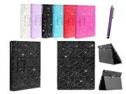 Kit Me Out US PU Leather Book Case + Purple Resistive / Capacitive Stylus Pen for Asus Google Nexus 7 ( 7 Inch 7.0 ) Tablet - Black Sparking Glitter Diamond Diamante Gem Design