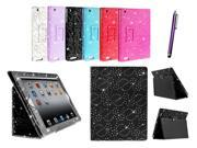 Kit Me Out US PU Leather Book Case + Purple Resistive / Capacitive Stylus Pen for Apple iPad 2 / 3 / 4 Tablet (All Versions) - Black Sparking Glitter Diamond