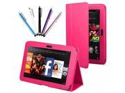 Kit Me Out US PU Leather Book Case + 5 Resistive / Capacitive Stylus Pens for Amazon Kindle Fire HDX 7 Inch Tablet - Hot Pink Luxury Multi Function