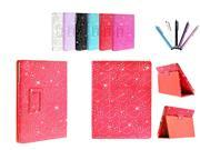 Kit Me Out US PU Leather Book Case + 5 Resistive / Capacitive Stylus Pens for Asus Google Nexus 7 ( 7 Inch 7.0 ) Tablet - Red Sparking Glitter Diamond Diamante Gem Design