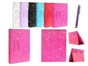 Kit Me Out US PU Leather Book Case + Purple Resistive / Capacitive Stylus Pen for Asus Google Nexus 7 (7 Inch 7.0) Tablet - Hot Pink Sparking Glitter Diamond