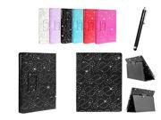 Kit Me Out US PU Leather Book Case + Black Resistive / Capacitive Stylus Pen for Amazon Kindle Fire HDX 7 Tablet (7 Inch) - Black Sparking Glitter Diamond Dia