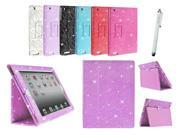 Kit Me Out US PU Leather Book Case + White Resistive / Capacitive Stylus Pen for Apple iPad 2 / 3 / 4 Tablet (All Versions) - Light Purple / Lilac Sparking Gl