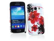 Kit Me Out USA Hard Clip-on Case + White Resistive / Capacitive Stylus Pen + Screen Protector with MicroFibre Cleaning Cloth for Samsung Galaxy Ace 3 S7272 - White / Red / Black Oriental Flowers