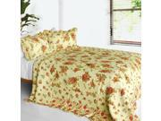 [Beauty of Light] 3PC Cotton Contained Vermicelli Quilted Patchwork Quilt Set Full Queen Size