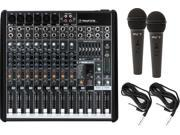 Mackie ProFX12 12-channel Compact Effects USB Mixer w/ 2 Microphones and Cables