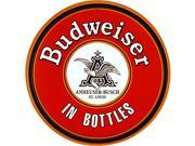 Budweiser In Bottles Round Metal Bar Sign