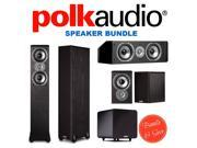 2 Polk Audio TSi300 Floorstanding Speaker + Polk Audio TSi100 Bookshelf Speakers (Pair, Black) + Polk Audio CS10 Center Channel Speaker (Single, Black) + Polk Audio PSW111 Subwoofer (Single, Black)