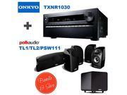 Onkyo TX-NR1030 9.2-Ch Dolby Atmos Ready Network A/V Receiver w/ HDMI 2.0 + 4 Polk Audio TL 1 Satellite Speaker (Each, Black) + Polk Audio TL2 Speaker Center Channel (Each, Black) + Polk Audio PSW111