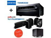 Onkyo TX-NR3030 11.2-Ch Dolby Atmos Ready Network A/V Receiver w/ HDMI 2.0 + 4 Polk Audio TL 1 Satellite Speaker (Each, Black) + Polk Audio TL2 Speaker Center Channel (Each, Black) + Polk Audio PSW111