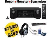 Denon AVR-S510BT 5.2 Channel A/V Receiver + Sennheiser Headphone + Monster Home Theather Bundle