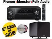 PIOVSX1130KBND20 Pioneer VSX-1130-K 7.2-Channel AV Receiver with Built-In Blue + Speakers Bundle