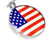 Stainless Steel Silver-Tone USA American Flag Partiotic Round Pendant Necklace