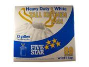 FIVE STAR, 3721375, White, 13 Gallon Tall Kitchen Trash Garbage Bags, Draw String 80 Bags