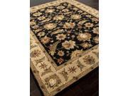 Hand-Tufted Oriental Pattern Black Tan (5x8) Wool Area rug
