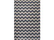 Wool Blue Ivory Geometric Pattern Easy Care Rug (5' x 8')