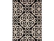 Handmade Geometric Pattern Black/Taupe Polypropylene (4x5.3) Outdoor Rug