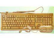 Handmade Bamboo PC Multi-Media Function Wired Keyboard And Mouse Combo