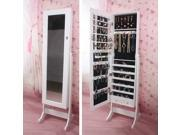 White Jewelry Cabinet Armoire Shelve Organizer box Case with lock Cheval Mirror