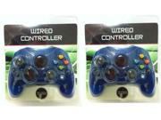 2 NEW S Type Blue Controllers Control Pads For Original MICROSOFT XBOX System