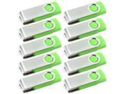 Lot 10pcs New 1GB 1 GB 1G USB 2.0 Flash Drive Swivel Design Green