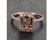 Wedding Ring Emerald Cut Morganite .26ctw Diamond Claw Prongs 14K Rose Gold HALO