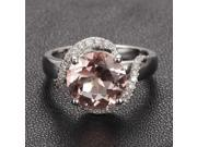 Pave Diamond Halo Ring 14K White Gold 8mm Round Morganite Engagement Ring Wedding Ring