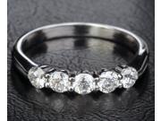 5 Stones Solid 14k White Gold .31ct Diamonds Wedding Band Engagement Ring