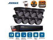 Annke 8CH 1080P CCTV DVR HD 1920*1080P Security Camera System 8¡�2.1Megapixel Outdoor IR-Cut Day Night Vision Dome Camera w/ 2TB Hard Drive Pre-installed 9SIA3T83W21565