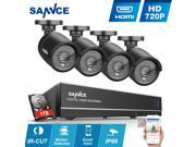 SANNCE 8 Channel 720P HD CCTV DVR w 4 Bullet In Outdoor Cameras Home Security System Realtime Reading IP66 Vandalproof Weatherproof Scan QR Code Remote