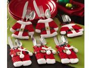 Collections Etc - Santa Suit Christmas Silverware Holder Pockets
