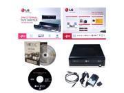 USED LG GE24NU40 24X Super Multi DVD CD External Burner Writer in Retail Box + FREE 1pk Mdisc + Installation Disc + USB Cable + AC Power Adapter (Black)