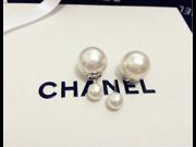 925 sterling silver D double shell size pearl female stud earrings allergy star