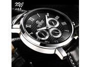 Authentic Korean edition three eyes men strap watch Stainless steel quartz waterproof watch