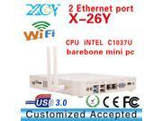 XCY X26Y 2*LAN port computer networking dual lan port thin client 2*Ethernet mini pc Fanless barebone os with HDMI support 1080P WIFI.