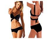 Hot sale fashion saxy women's push up padded swimwear swimsuit trikini black bikini beachwear