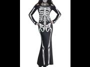 Dear-Lover Women's Bone Print Long Skeleton Dress Adult Halloween Costume