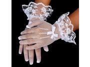 2pcs Bridal Wedding Lace Bowknot Gloves Beautiful White