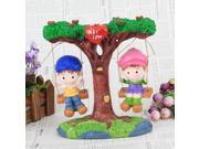 Wedding Home Decoration Gift Couple Sitting on 2 Rope Swings Resin Ornaments 9SIA3XT36E4360