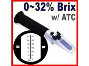 Black RHB-32ATC Brix Refractometer 0-32%ATC Fruit Juice