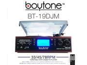 Boytone BT 19DJM 3 Speed Stereo Turntable Cassette AM FM Radio Speaker with LCD Screen