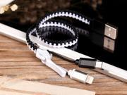 Zipper [Lightning 8PIN & Micro USB] Braided Data Sync Charger Cable for Apple iPhone iPad iPod and Android Smartphones/Tablets 30CM Charging Cord White+Black Color