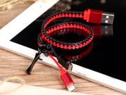 2in1 Zip USB Charging Sync Cable w/Micro USB, 8pin Lightning Connector for iPhone 6/6 Plus/5/5s/, iPad 4 Air mini, iPod Touch 5 Nano 7, Samsung, HTC, LG Micro USB Powered Devices [Black&Red]