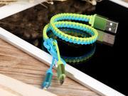 Zipper 2-in-1 1ft USB to Micro USB & Lightning Data Charging Cable Cord (Color: Green+Blue)